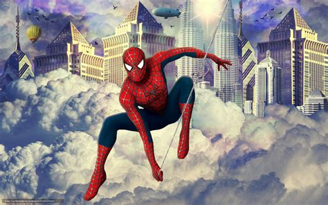 Download Wallpaper Spiderman, Balloon, Airship, Birds Free