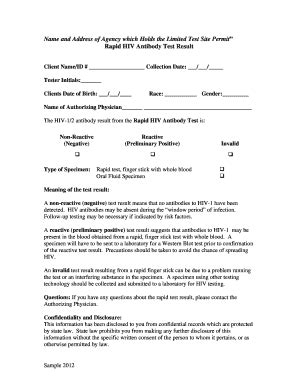 fake hiv test results form hiv test form fill online printable fillable blank