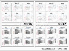 Calendar template 2016, 2017 Stock Illustration