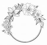 Drawing Borders Wreath Coloring Printable Pages Fancy Abstract Flower Border Floral Draw Doodle Colour Bullet Ak0 Hair sketch template