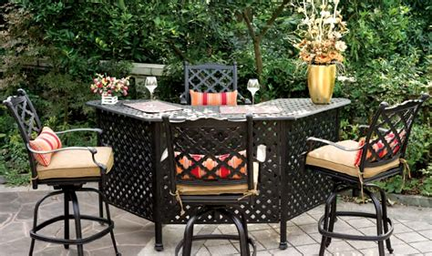 patio furniture bar cast aluminum bar stool set 5pc