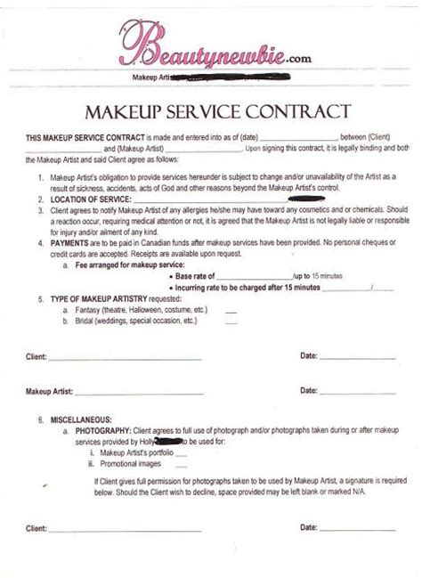 makeup artist contract form makeup service contract sickening no pinterest