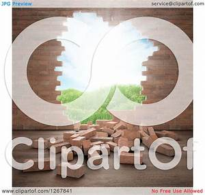 Clipart of a 3d Brick Wall with a Hole and View of an ...