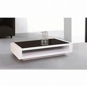 Table Basse Noir Laqué : chloe design table basse design laque blanc avec plateau en verre noir florie tous les ~ Teatrodelosmanantiales.com Idées de Décoration