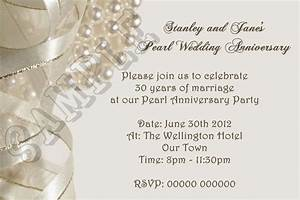 personalised pearl wedding anniversary invitations 30th With 30th wedding anniversary invitations free