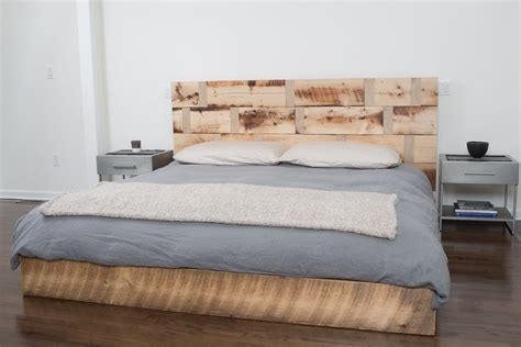 reclaimed wood king headboard made reclaimed wood platform bed by rhg architecture