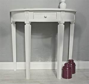 Tisch wei halbrund landhaus for Tisch halbrund