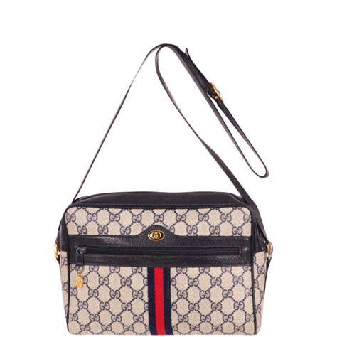 gucci vintage leather trim monogram canvas shouldercross body bag