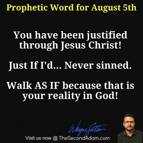 August 5th Daily Prophetic Word Of God  The Second Adam