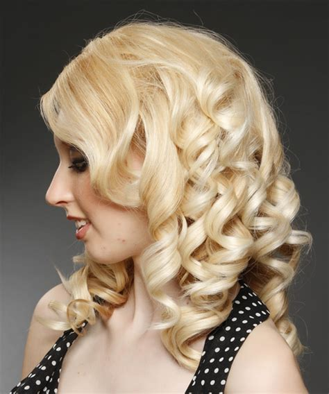 Honey Hairstyles by Medium Curly Formal Hairstyle With Side Swept Bangs