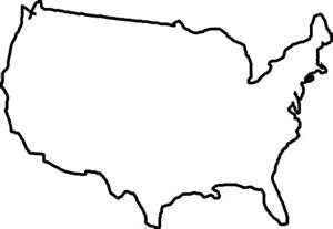 USA Map Black and White Clip Art