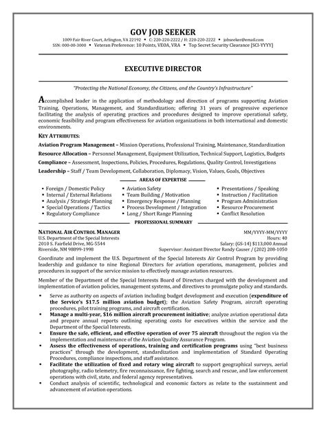 Government Resume Exles by Government Resume Sle Templates At