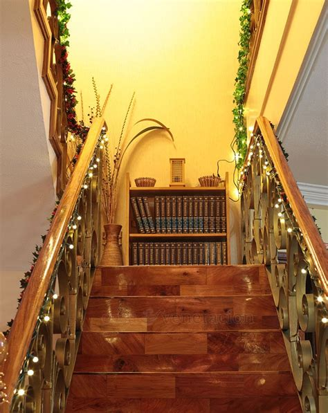 lighted garland for staircase decorating idea garlands and lights on the 7022