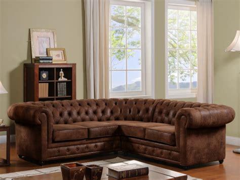 vente unique canapé d angle canapé d 39 angle microfibre aspect cuir vieilli chesterfield