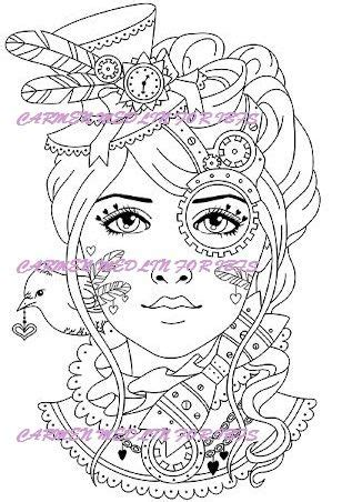 pin  steampunk coloring pages  adults