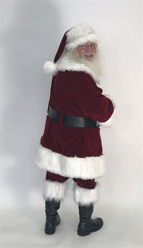 Of Santa by Planetsanta Classic Velvet Santa Suit With Brass Colored