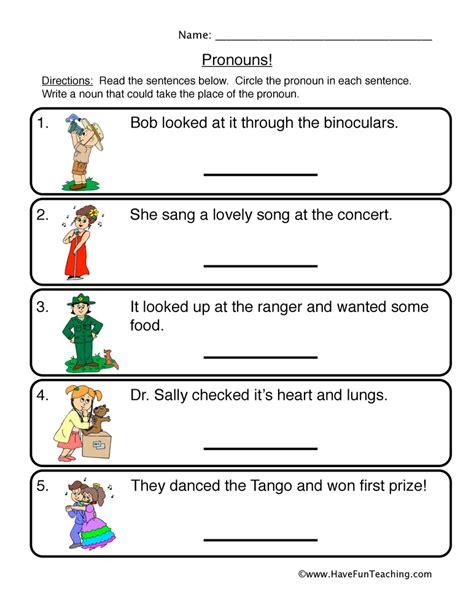 grade pronoun worksheets for circle best