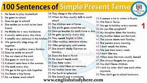 Simple English Grammar Tenses Chart 100 Sentences Of Simple Present Tense Simple Present