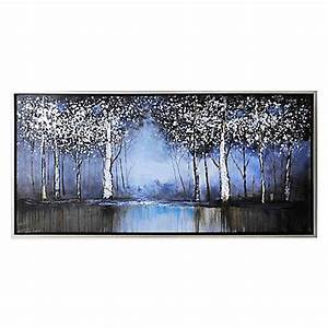 cobalt tree hand painted canvas wall art bed bath beyond With best brand of paint for kitchen cabinets with outdoor scene wall art