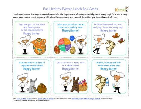 Holiday 5 Healthy Easter Themed Message Lunch Box Notes