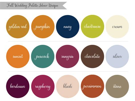 color palette ideas inspired by nature fall wedding palette ideas