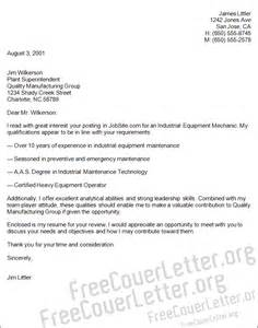 industrial machinery mechanic resume industrial equipment mechanic cover letter sle
