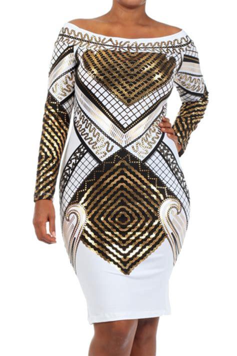 Dress Metallic White Egyptian Print Long Sleeve Dress