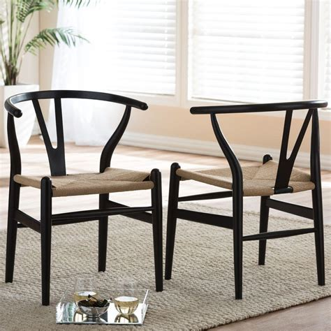baxton studio wishbone mid century black finish wood chair