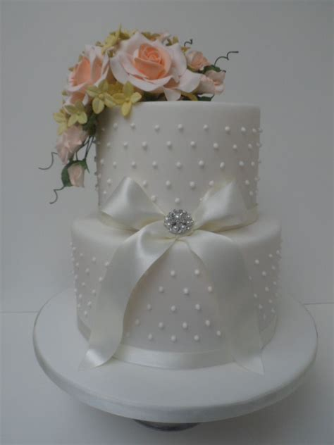 Two Tier Wedding Cake With Swiss Piped Dots And Sugar