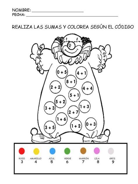 recursos educativos suma  colorea fichas de matematicas
