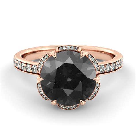 black diamond engagement ring flower diamond ring vintage