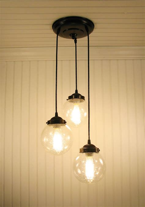 glass pendant chandelier light seeded glass trio  lampgoods