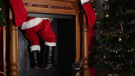 santa father christmas coming   chimney stock