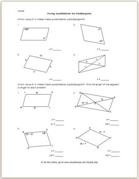 proving quadrilaterals are parallelograms 2 by eric douce