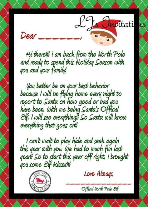 elf boy inspired elf coming  letter elf   shelf