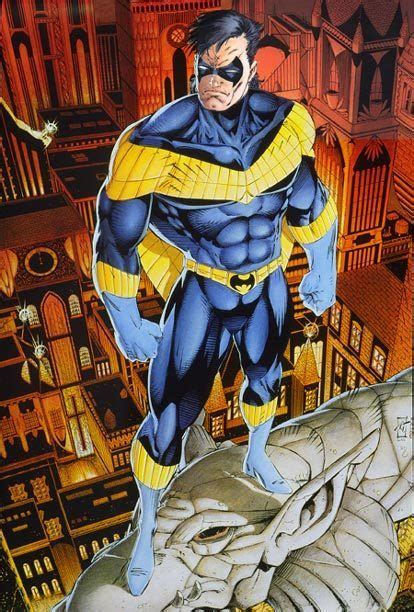 nightwing dc thibert comics poster dick grayson costume 1992 costumes second batmanytb fanpop history artwork yellow comic cable publication cool