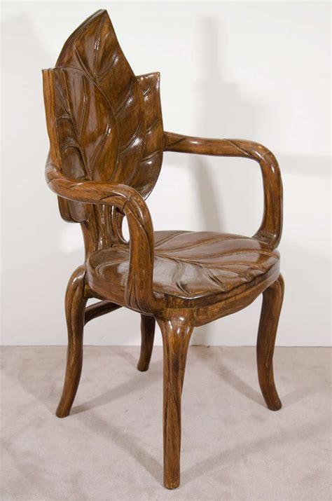 nouveau style pair of sculptural leaf motif armchairs