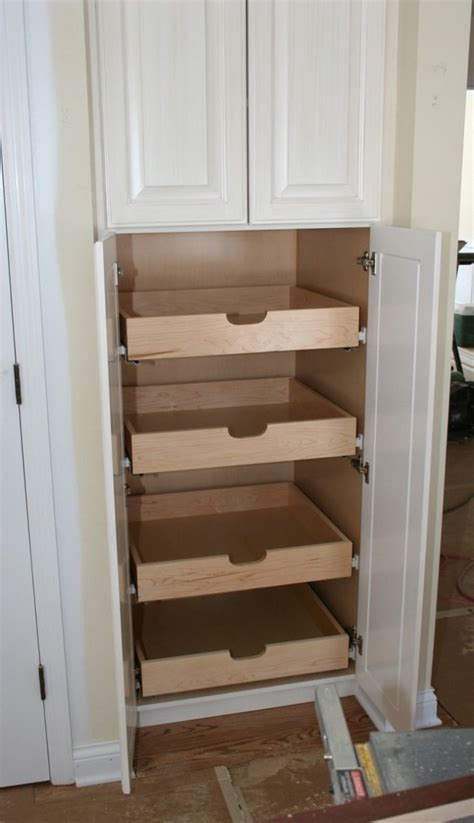 pull out drawers in kitchen cabinets how to build pull out pantry shelves diy projects for 9174