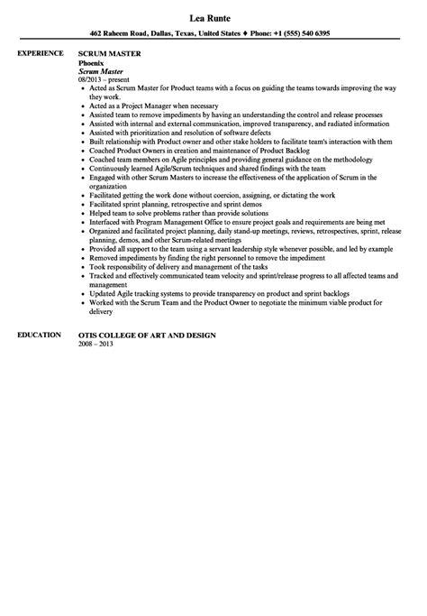 scrum master resume sle velvet