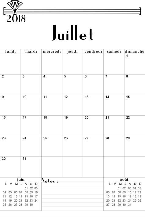 juillet  calendrier calendars