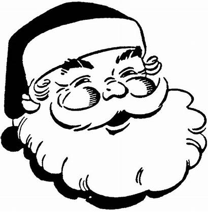 Santa Claus Coloring Face Head Pages Clipart
