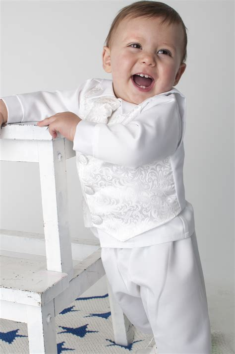 Boys Vivaki Paisley Christening Suit in White - Boys Christening Outfits - Boys Formal Wear