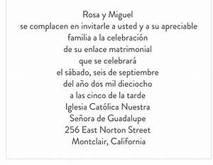 wording sample for wedding invitation in spanish With wedding invitations phrases in spanish