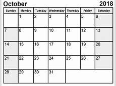 October 2018 Calendar Pdf, Word, Excel Professional