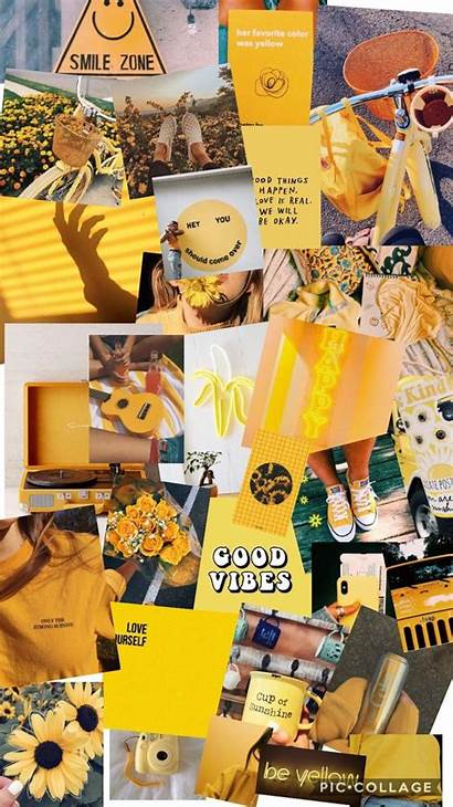 Collage Aesthetic Wallpapers Yellow Pastel Happy Behind