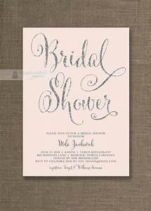 Blush Pink & Silver Glitter Bridal Shower Invitation Pastel Pink Hens Party Script Modern FREE