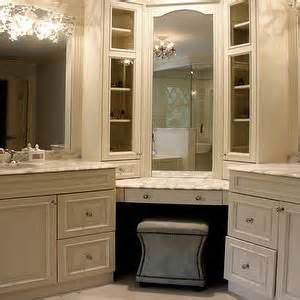 double bathroom corner vanity with makeup station google