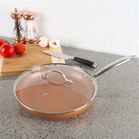 pan non stick oven lid safe skillet fry copper handle dishwasher shield cookware heat finish allumi cuisine colored classic