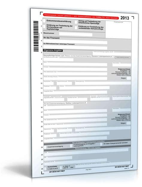 mantelbogen einkommensteuererklaerung  formular zum