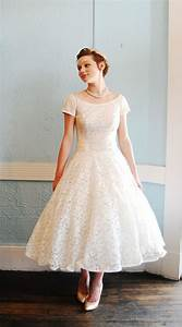 retro tea length wedding dress with short sleeves sang With tea length wedding dresses with sleeves